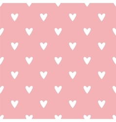 Tile pattern with white hearts on pink background vector image vector image