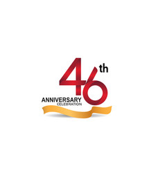 46 anniversary design logotype red color vector