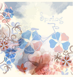 abstract spring background with flowers and bike vector image