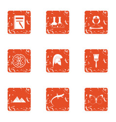 Analyze icons set grunge style vector