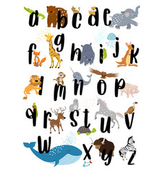 animal alphabet poster vector image