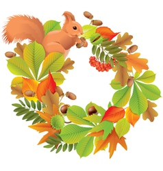 Autumn wreath with squirrel vector image