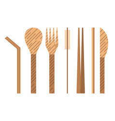 Bamboo or wooden reusable utensils icons set vector