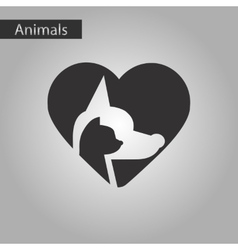 Black and white style icon cat dog heart vector