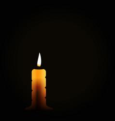 Burning candle on black background mourning vector