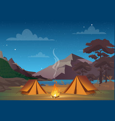 camping in night time vector image