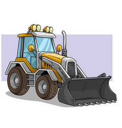 cartoon wheel front loader bulldozer with shovel vector image
