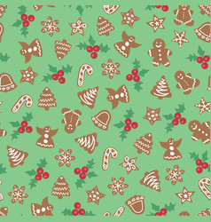 Christmas cookies seamless background vector