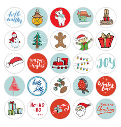 christmas icons set hand drawn elements winter vector image