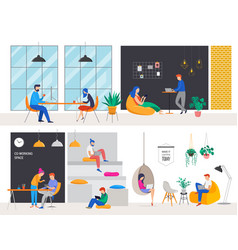 co-working space concept young vector image