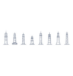 Collection of lighthouses of various types drawn vector