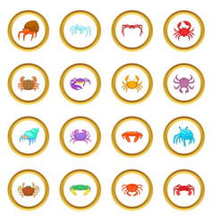 colorful crab icons circle vector image