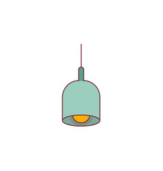 Colorful graphic of pendant lamp with dark red vector