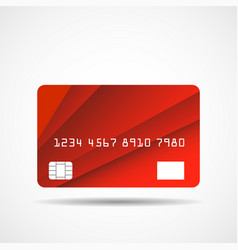 Credit card icon with overlap red lines isolated vector