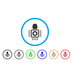 Cyborg processor rounded icon vector