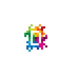d letter mosaic pixel logo icon design vector image