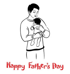 Dad and child in lovely hug Fathers day card vector