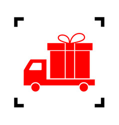 delivery gift sign red icon inside black vector image