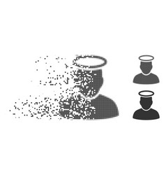 Disintegrating pixel halftone holy man icon vector