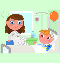 Doctor and sick boy in hospital vector