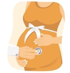 Doctor examining a pregnant woman vector image