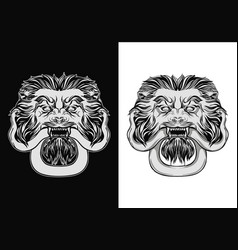 Engraved lion head door knocker lion with snake vector