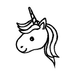 Figure cute unicorn head with horn and hairstyle vector