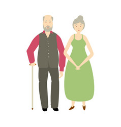 flat old grey-haired couple isolated vector image