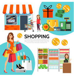 flat shopping composition vector image