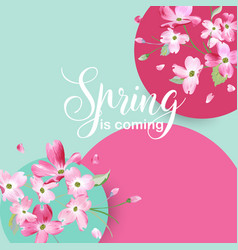 Floral spring graphic design with cherry blossom vector