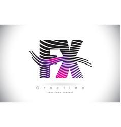 Fx f x zebra texture letter logo design with vector