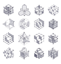 geometric technology black and white drawings set vector image