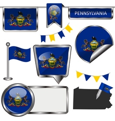 Glossy icons with Pennsylvanian flag vector image