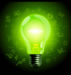 green light bulb on hand drawn business icons vector image
