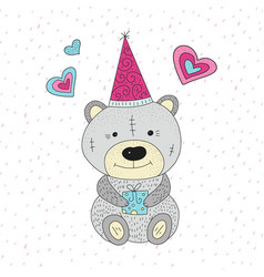 greeting with cartoon bear vector image