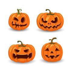 Halloween pumpkins in with set of different vector