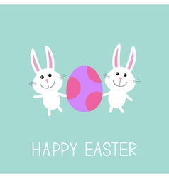 Happy Easter Two bunny rabbit and egg Flat design vector image