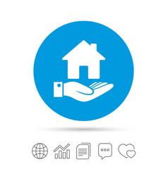 Home and hand sign palm holds house symbol vector
