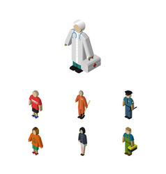 Isometric person set of medic plumber lady and vector