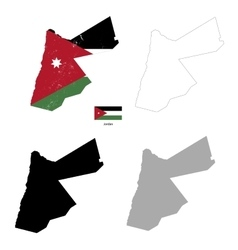 jordan country black silhouette and with flag vector image