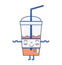 Kawaii cute happy smoothie drink vector