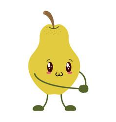 kawaii pear cartoon character vector image