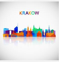 krakow skyline silhouette in colorful geometric vector image