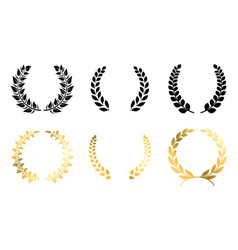 laurel winner labels golden and black luxury vector image
