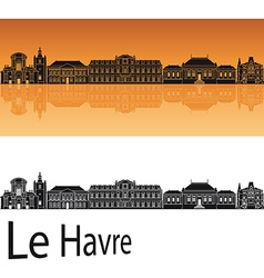 le havre skyline in orange background vector image