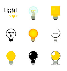 Lightbulb logotype icons set cartoon style vector