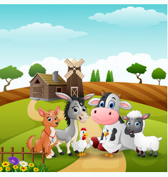 Litte animals at farm background vector