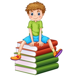 Little boy sitting on stack of books vector image