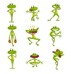 little funny frog set cute green amfibian animal vector image