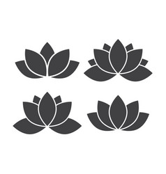Lotus flower icon set vector